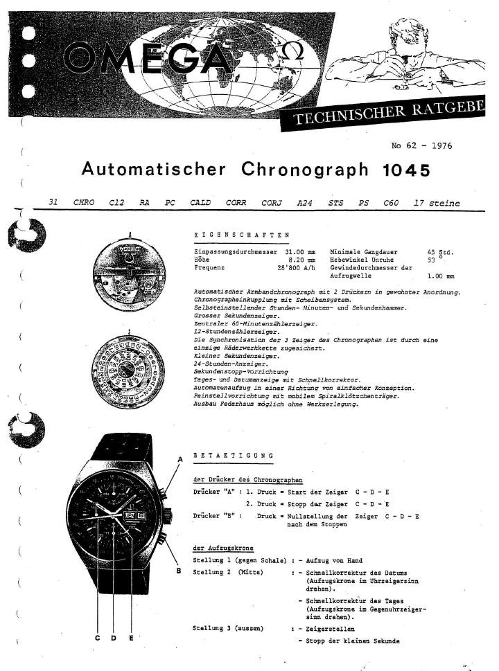 Omega c.1045 Chronograph Service Manual