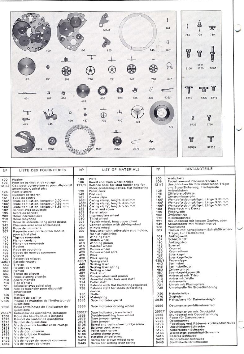 Valjoux Calibre 7740/7741 Series Chronograph Parts Manual