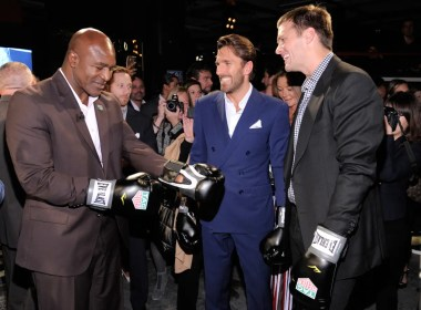 NEW YORK, NY - OCTOBER 25: Evander Holyfield, Henrik Lundqvist, and Tom Brady attend the Muhammad Ali tribute event at Gleason's Gym on October 25, 2016 in New York City. (Photo by Matthew Eisman/Getty Images for TAG Heuer)