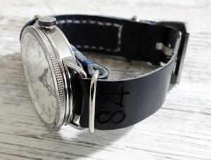 Made in Germany Leder NATO Band Marineblau Hamilton Deckwatch