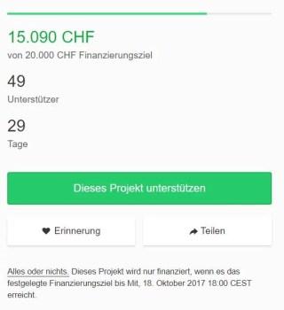 Kickstarter Finanzierungsziel