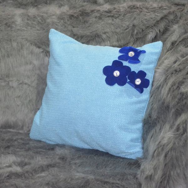 Blue and blue flowers throw pillow Chronos stores dreamhome shop seller
