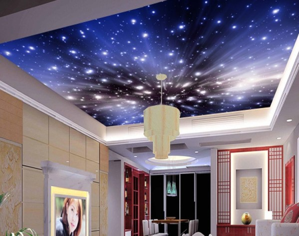 Galaxy Night 3d Ceiling Mural
