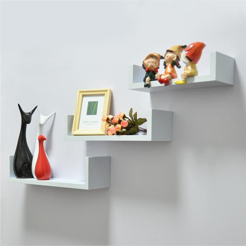 White Contemporary Wall Mounted U Shape Floating shelves (3pcs)