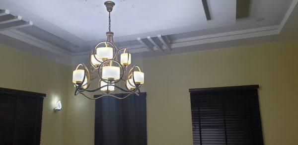 8-Tier Antique Chandelier Plus Wall Lamp