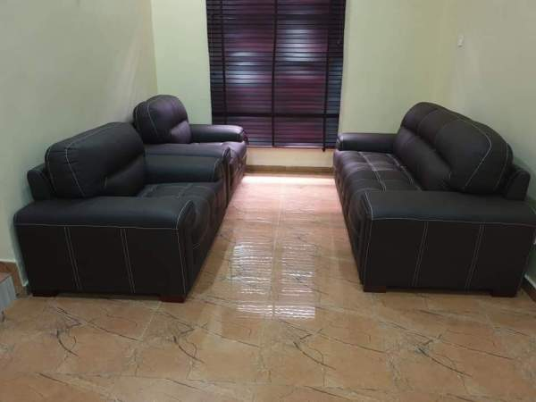 Brown 7 Seater Leather Sofa
