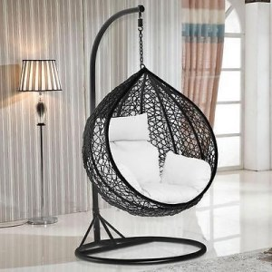 Hanging Rattan Swing Patio Garden Chair with Cushion