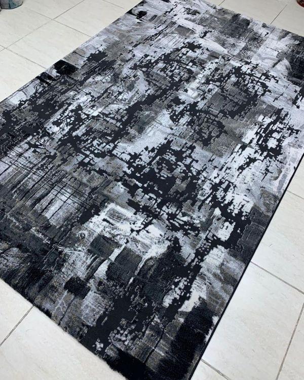 REMODEL BLACK GREY ABSTRACT GLAM TURKEY RUG (5'×7')