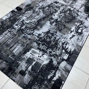 REMODEL BLACK GREY ABSTRACT GLAM TURKEY RUG (5'×7')