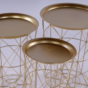 Modern Deco Gold Metal Set of 3 Tray Tables