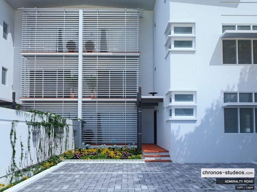 Admiralty Road Greer Estates exterior entrance 3D visualization by Chronos Studeos Luxury Home in Lekki in Lagos Nigeria