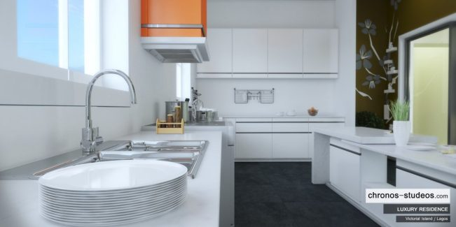 Victoria Island Kitchen Orange quality sink unit