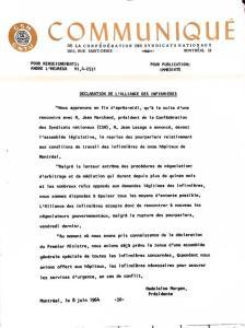 Communiqué de la Confédération des syndicats nationaux, 8 juin 1964