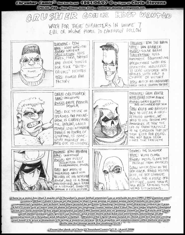 Most Wanted Villains At Large In ChrusherComix Universe 1991