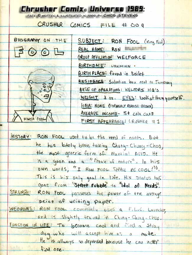 Crusher Comics Universe Ronald Cool Kung Foule 1988 Profile