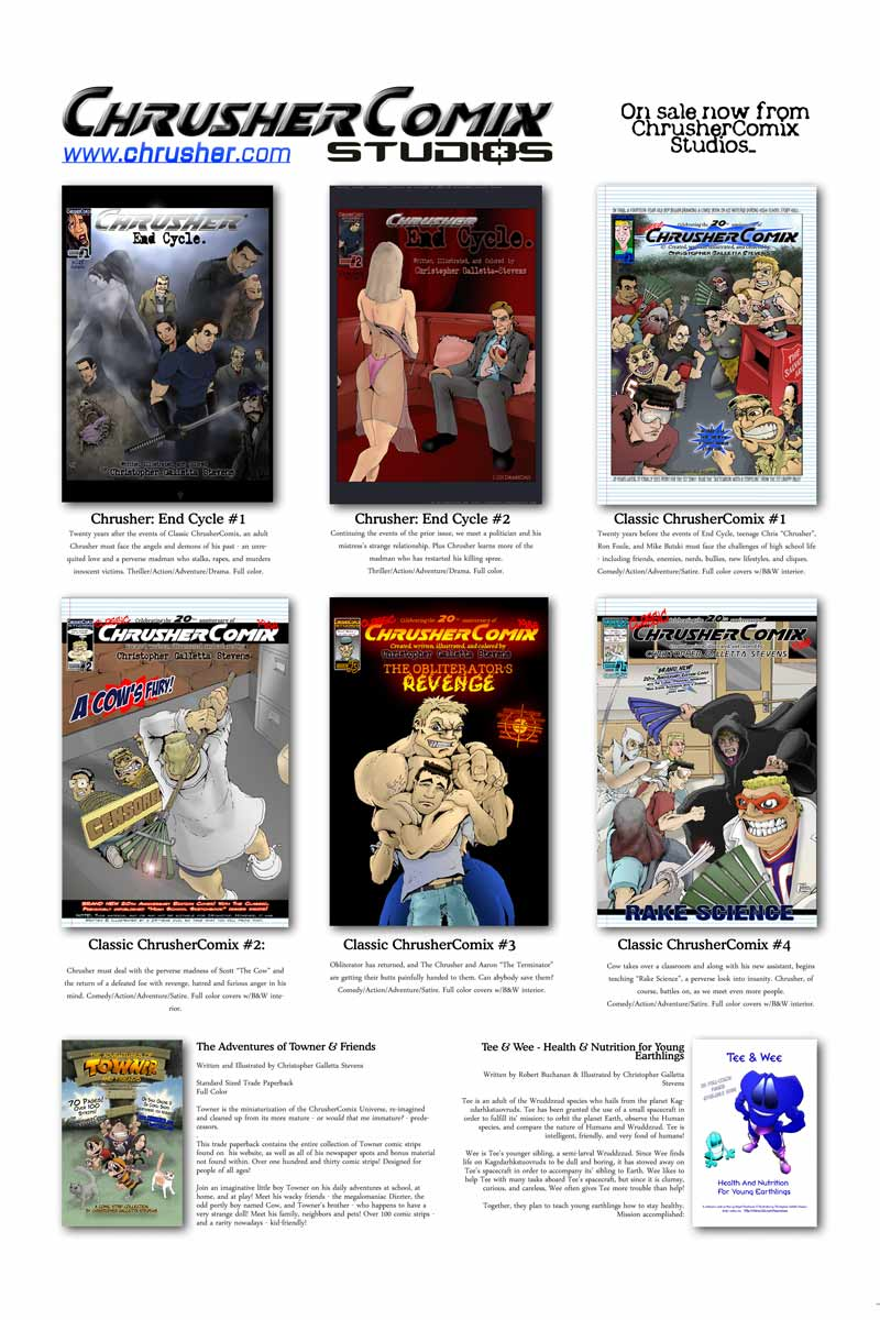 ChrusherComix Titles in-print are sold at IndyPlanet!