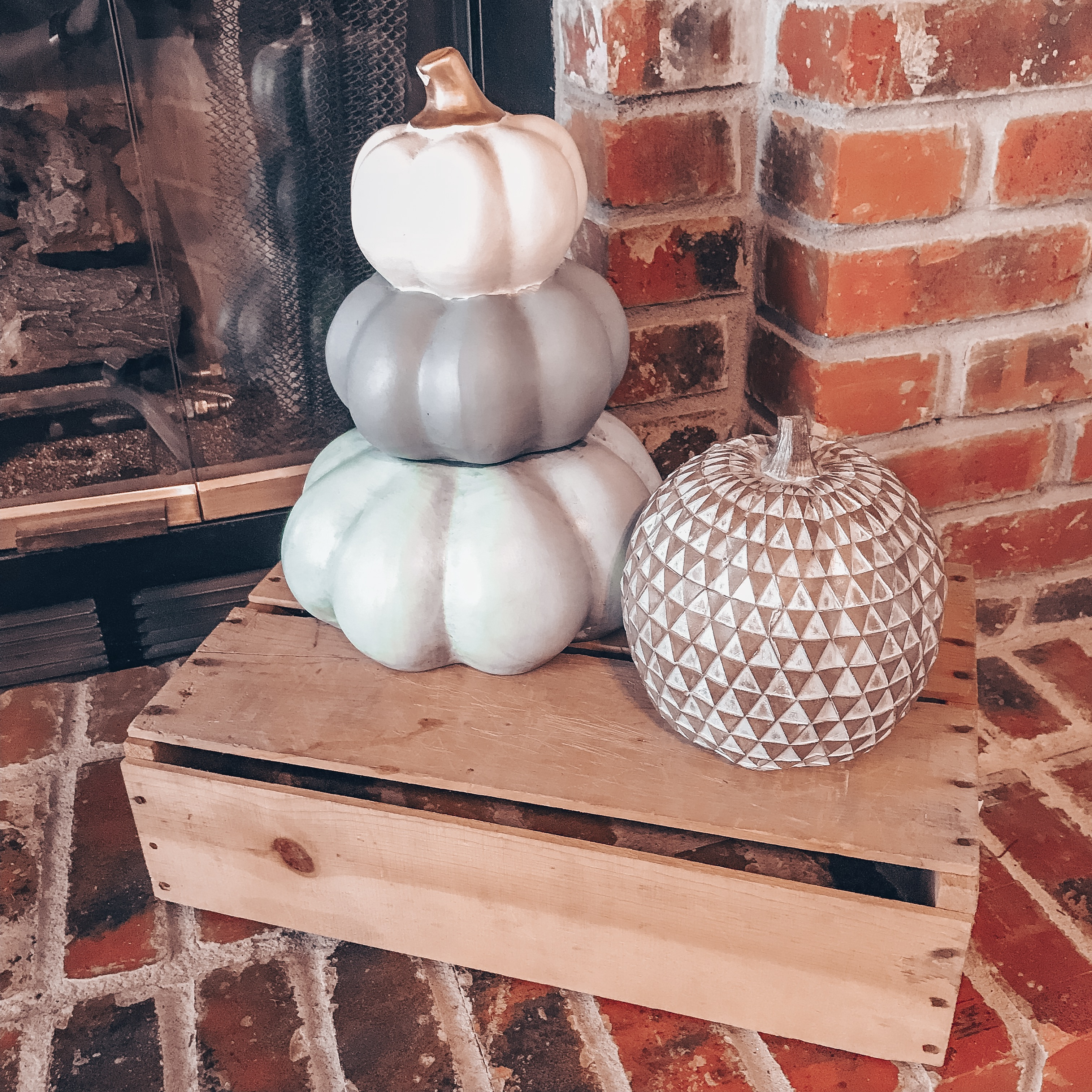 Stacked Pumpkins Fall Decor