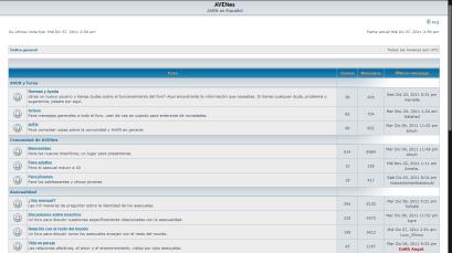 Captura de pantalla del foro de AVENes en 2011