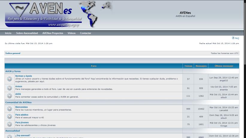 Captura de pantalla del foro de AVENes en 2014