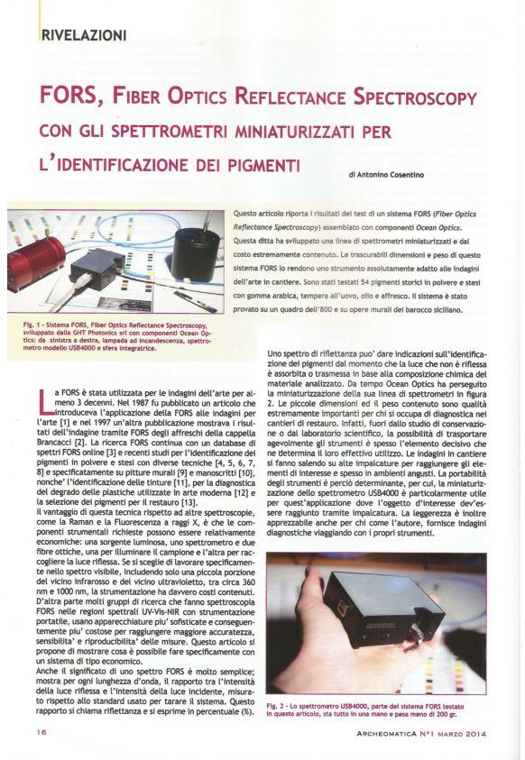 FORS, Fiber Optics Reflectance Spectroscopy  con gli spettrometri miniaturizzati per l'identificazione dei pigmenti Archeomatica