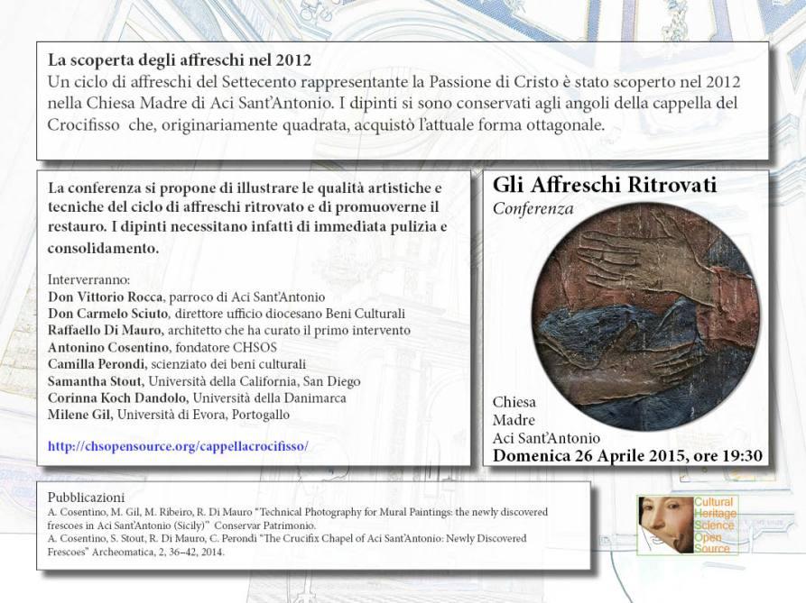 Conference April 26th, Aci Sant'Antonio. Flyer