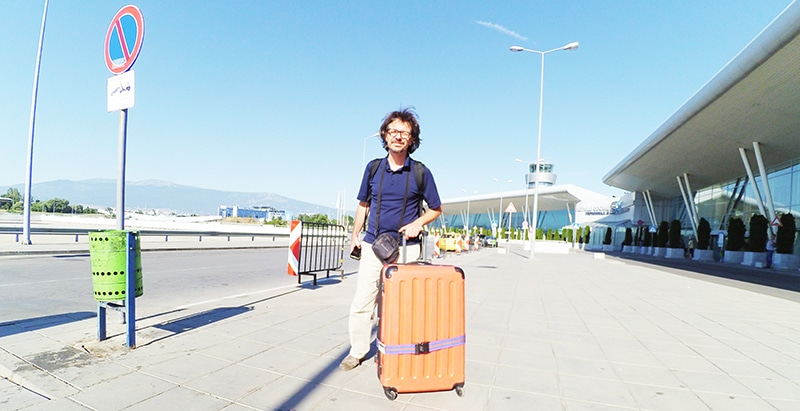 Just arrived in Sofia's airport , Bulgaria. with our traveling equipment. July 2016.