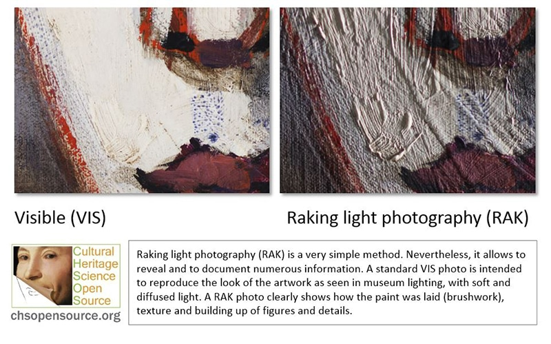 Raking light photography (RAK) is a very simple method. Nevertheless, it allows to reveal and to document numerous information. A standard VIS photo is intended to reproduce the look of the artwork as seen in museum lighting, with soft and diffused light. A RAK photo clearly shows how the paint was laid (brushwork), texture and building up of figures and details.