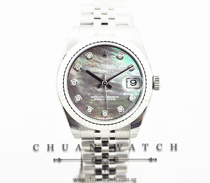 Rolex Boys DateJust 31mm 178274 Black MOP Diamonds