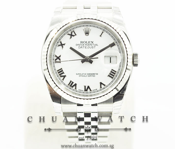 Rolex Gents DateJust 36mm 116234 White Roman :: Chuan