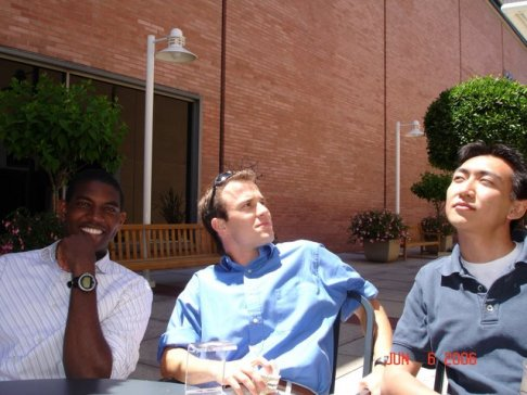 Craig Goergen, Mike Chen, and myself share a lighthearted moment at Stanford's shopping center