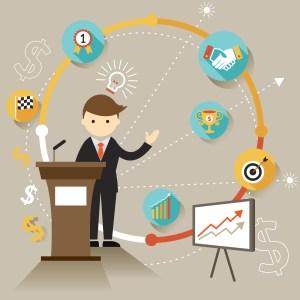 Businessman Show Success Achievement Presentation with Icons