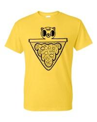 Pizza cat tee - yellow screenprinted T-shirt