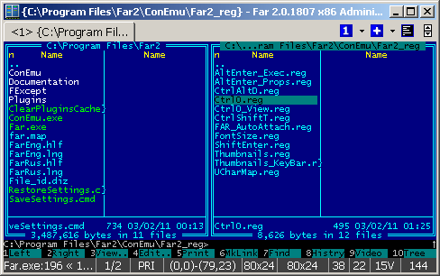 Far Manager in ConEmu
