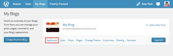 My blog - with Dashboard link