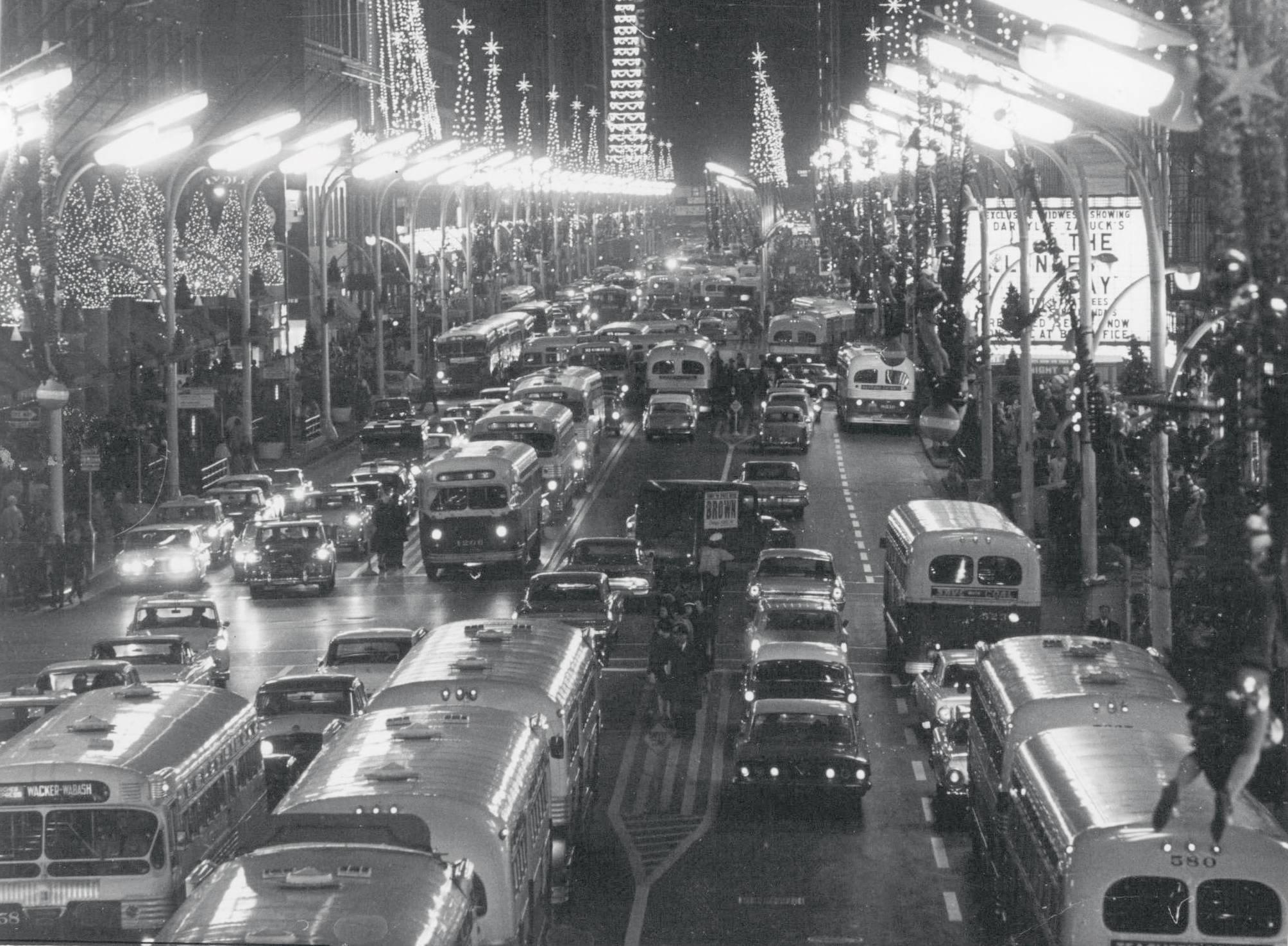 PHOTO CHICAGO STATE STREET CHRISTMAS SEASON NIGHT