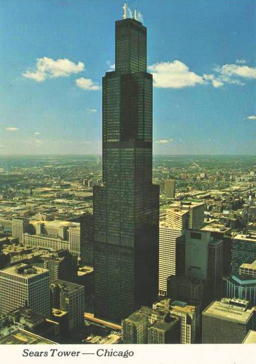 POSTCARD  CHICAGO  SEARS TOWER  STARK AGAINST