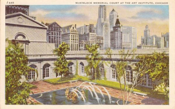Postcard Chicago Art Institute Mclintock Memorial