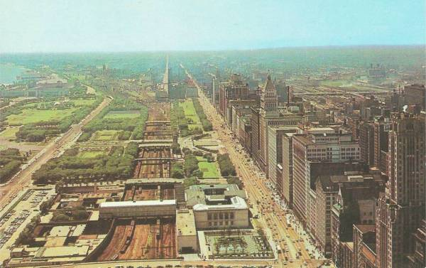 Postcard Chicago Michigan Ave And Grant Park Aerial