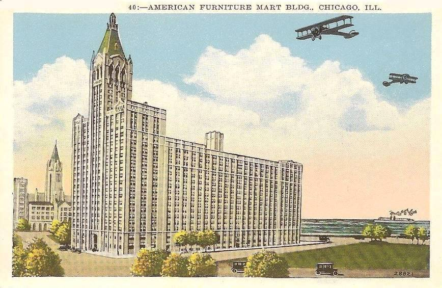postcard chicago american furniture mart building 666 lake shore drive planes and ship drawn in world fair series 1933 postcard chicago