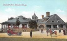 Postcard Chicago Humboldt Park Refectory Car Horses