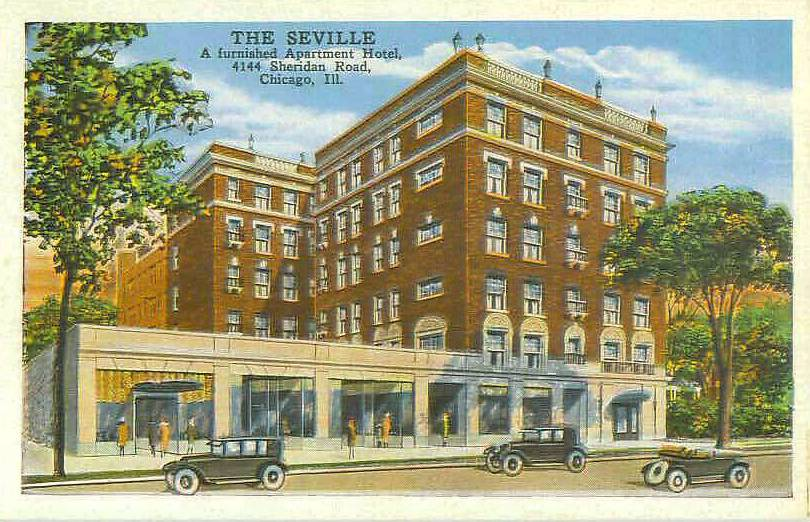 POSTCARD  CHICAGO  THE SEVELLE APARTMENTS  4144 SHERIDAN ROAD  1 AND 2 AND 3 ROOM