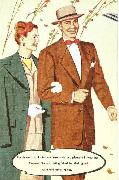 SIMPSON CLOTHES DRAWING OF COUPLE WALKING 1950s