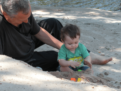 Talon and I playing on the Beach
