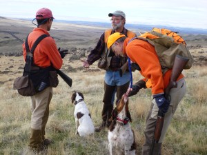 Hunting upland birds with friends