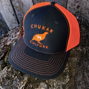 Charcoal and blaze orange Chukar Culture hat