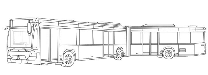 ぬり絵メルセデス・ベンツ「シターロ」連接バス