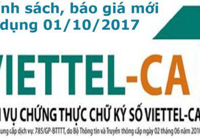Thông báo Chính sách và báo giá Chữ ký số Viettel áp dụng từ tháng 10/2017