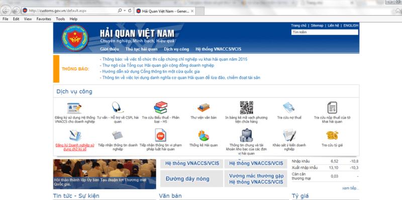 Vào Website Hải quan để thực hiện đăng ký