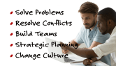 A list of five things consulting can doo for you: Solve Problems. Resolve Conflicts, Build Teams, Strategic Planning, and Change Cultures