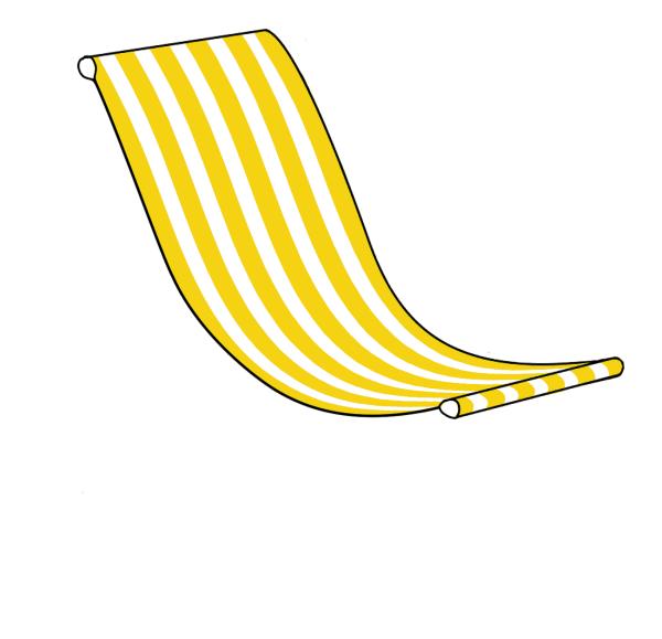 Sedia a sdraio gigante Giallo e Bianco Striped Canvas Fionda